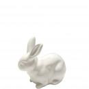 Ceramic rabbit crouching, L 12cm white